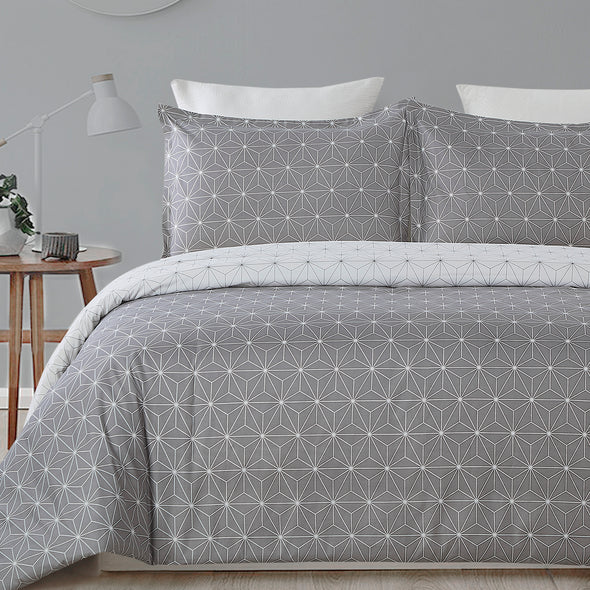 Abstract Geometry Pattern Design Duvet Cover Set BS219 Grey