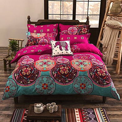 Vaulia Bohemia Exotic Patterns Design, Lightweight Microfiber Queen Size Duvet Cover Set, Bright Pink