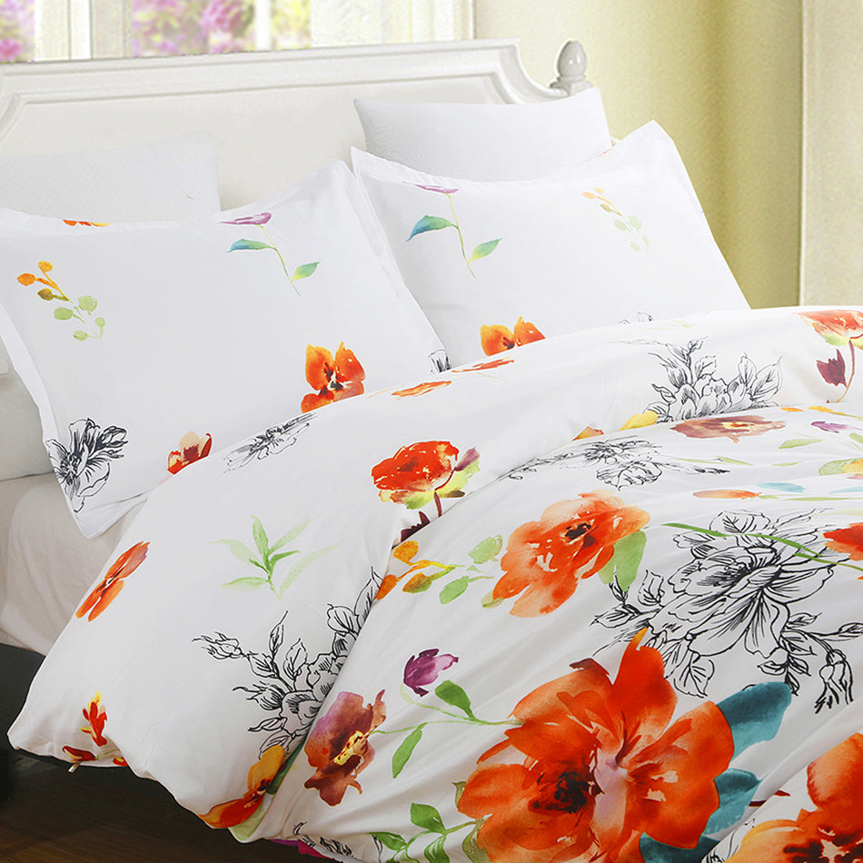 Colorful Floral Print Pattern Microfiber Duvet Cover Set