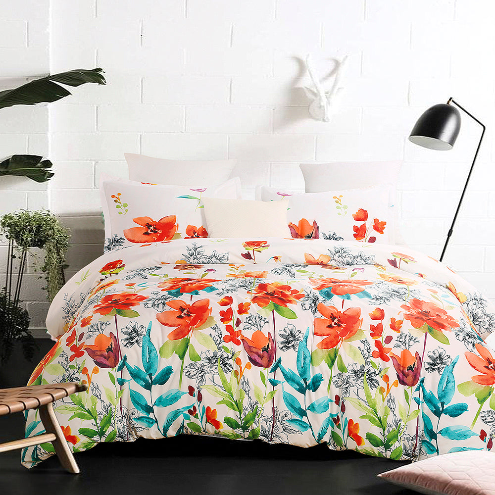 Colorful Floral Print Pattern Microfiber Duvet Cover Set BS301