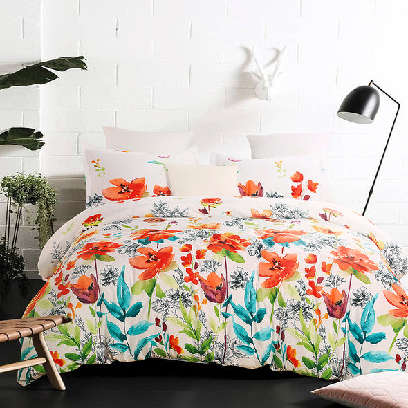 vaulia Colorful Floral Print Pattern Microfiber Duvet Cover Set BS301