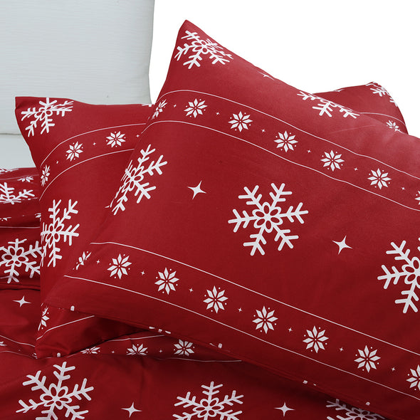 Snowflake Pattern Design Red Duvet Cover Set BS616