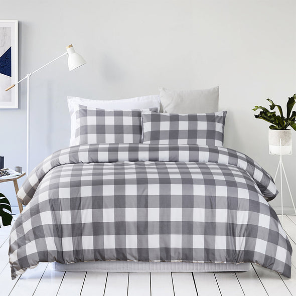 vaulia Microfiber Duvet Cover Set, Grid Pattern BS307