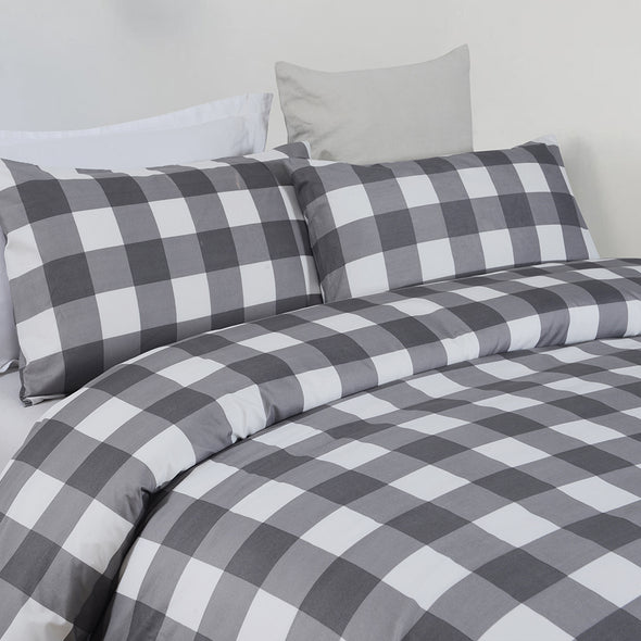 Microfiber Duvet Cover Set, Grid Pattern BS307
