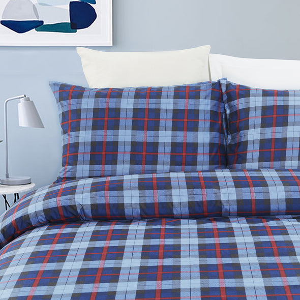 Microfiber Plaid Printed Pattern Design Duvet Cover Set BS308