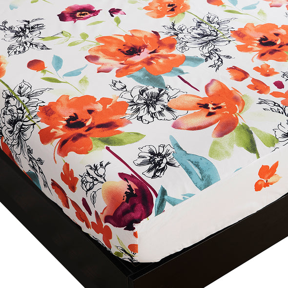 Lightweight Microfiber Fitted Sheet Floral Pattern BT301