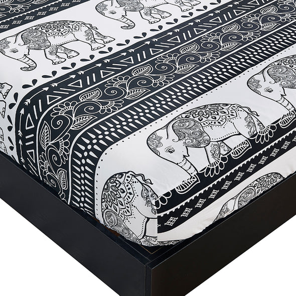 Lightweight Microfiber Fitted Sheet Printed Elephant Pattern BT315