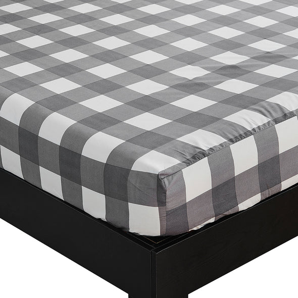 Lightweight Microfiber Fitted Sheet Grid Pattern BT327