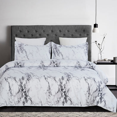 vaulia Lightweight Microfiber Duvet Cover Set White Marble BS328