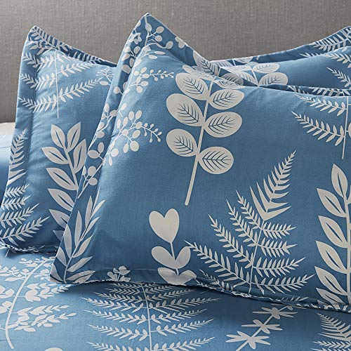 Microfiber Duvet Cover Set,Elegant Flower Pattern - Spa Blue Color