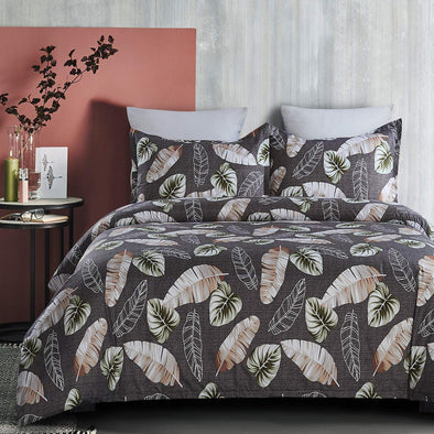 Lightweight Microfiber Duvet Cover Set Printed Pattern Design Grey/Green