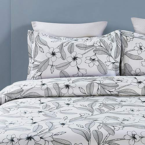 Microfiber Duvet Cover Set,Elegant Flower Pattern - White Color
