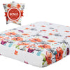 vaulia Lightweight Microfiber Fitted Sheet Floral Pattern BT301