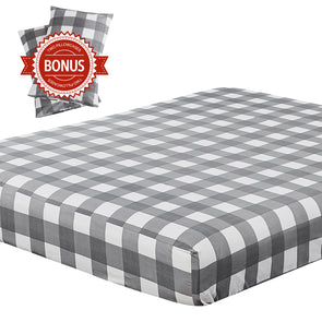 vaulia Lightweight Microfiber Fitted Sheet Grid Pattern BT327
