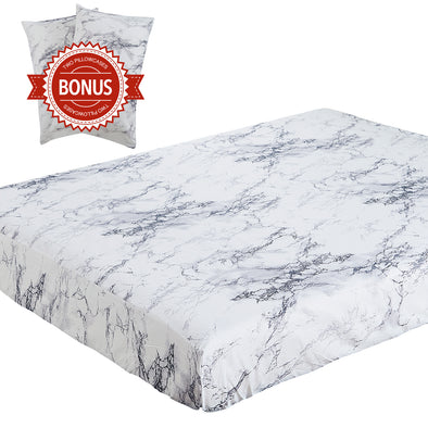 vaulia Lightweight Microfiber Fitted Sheet White Marble BT328