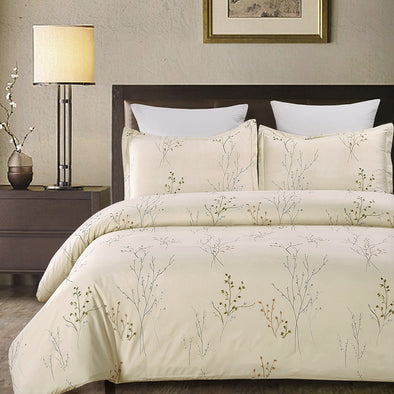 vaulia Microfiber Duvet Cover Set Print Pattern Design Beige Color BS220