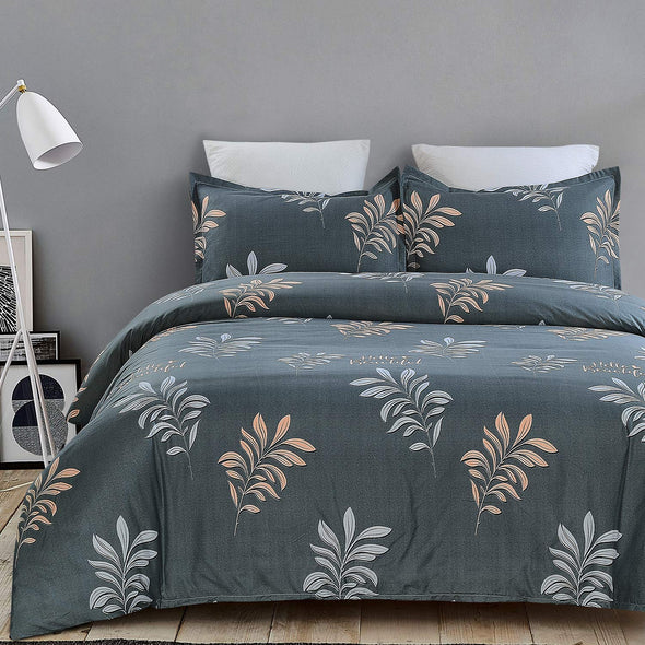 Lightweight Microfiber Duvet Cover Set Printed Pattern Design - Grey Color