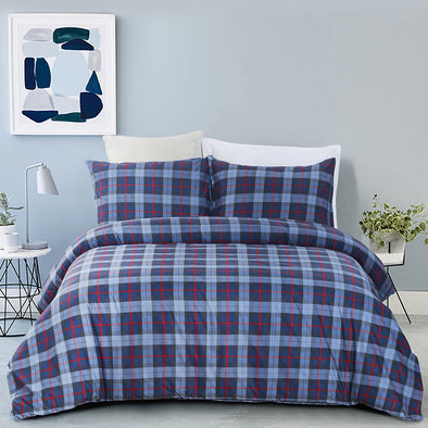 vaulia Microfiber Plaid Printed Pattern Design Duvet Cover Set BS308
