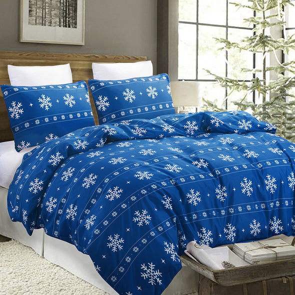 Snowflake Pattern Design Red Duvet Cover Set blue
