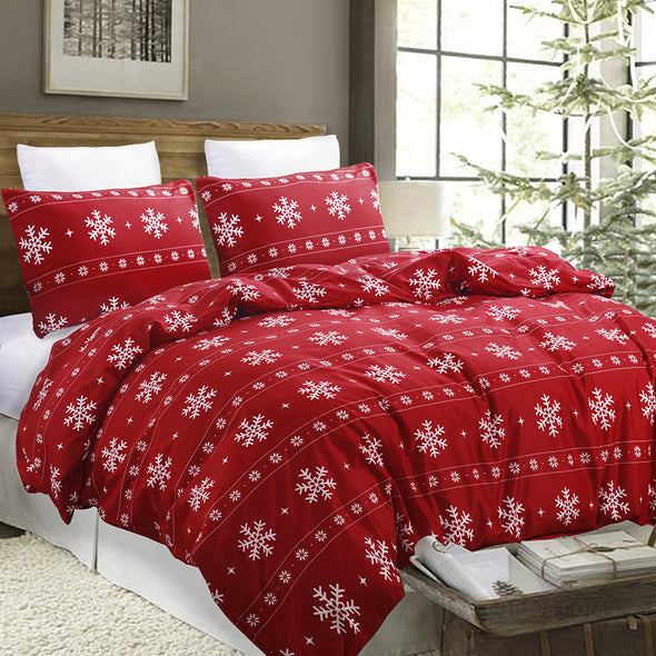 Snowflake Pattern Design Red Duvet Cover Set BS616 red