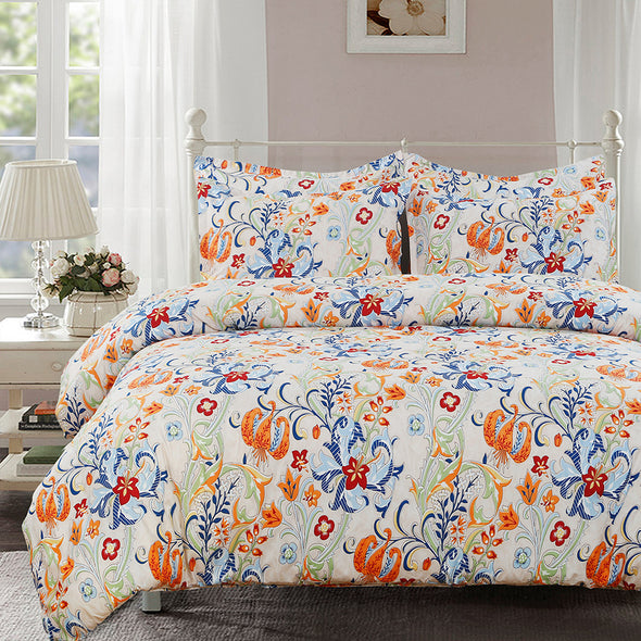 vaulia Floral Pattern Design Microfiber Duvet Cover Set BS210