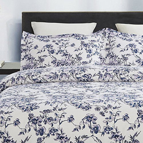 vauli 100-Percent Cotton Duvet Cover Sets Blue Flower CBS235-3
