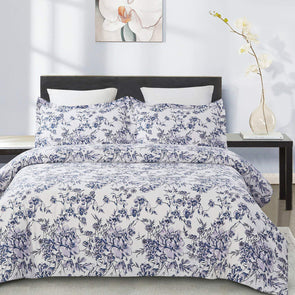 vauli 100-Percent Cotton Duvet Cover Sets Blue Flower CBS235