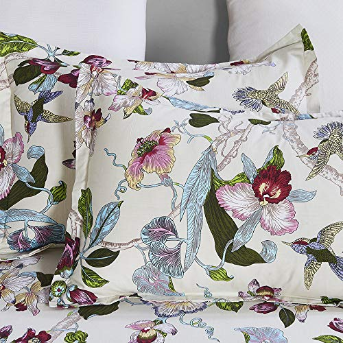 100% Cotton Duvet Cover Set, Vintage Flowers Birds Printed Pattern