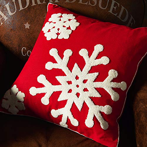 Vaulia Decorate Square Throw Pillow Cover, Snowflake Embroidery Pattern 100% Cotton, Red/White (18x18 in.)