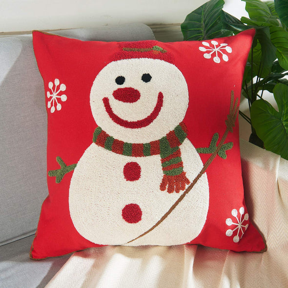Vaulia Decorate Square Throw Pillow Cover, Snowman Embroidery Pattern 100% Cotton, Red/White (18x18 in.)