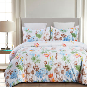 vaulia Lightweight Microfiber Duvet Cover Set, Colorful Flowers Print Pattern BS239