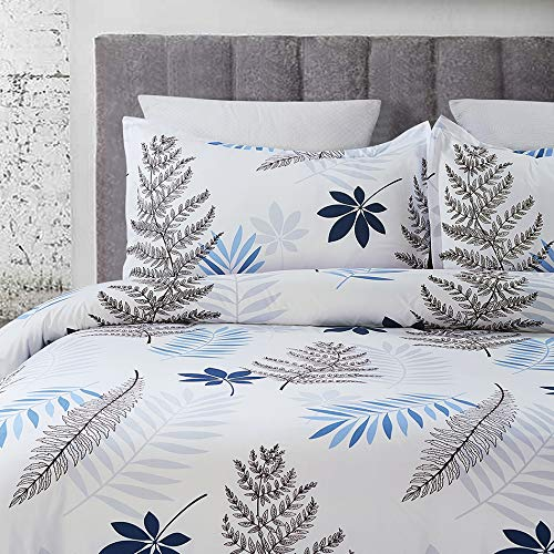 Microfiber Duvet Cover Set, Print Well Designed Branch and Leaf Pattern - White Color