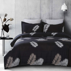 Vaulia Lightweight Microfiber Duvet Cover SetPalm Leaf Printed Pattern - Dark Grey
