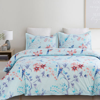 vaulia Microfiber Duvet Cover Set Blue with Birds Pattern BS320