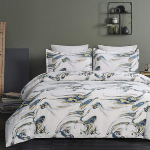 Vaulia Lightweight Soft Microfiber Duvet Cover Set, Printed Marble Pattern BS255