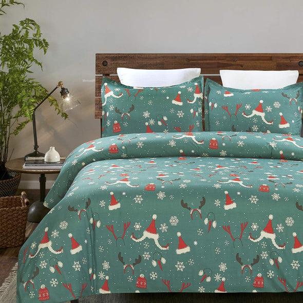 Vaulia Lightweight Microfiber Duvet Cover Set, Well Designed Pattern for Christmas Decorations, Green Color