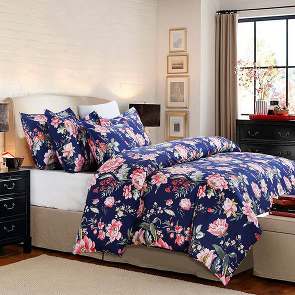 vaulia Colorful Floral Pattern Microfiber Duvet Cover Set BS213