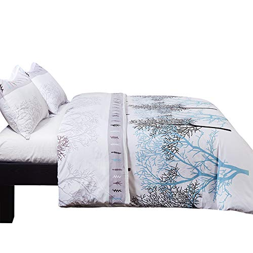 Lightweight Soft Microfiber Duvet Cover Set, Printed Branch Pattern - White BV009