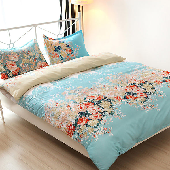 Floral Pattern Design Microfiber Duvet Cover Set BS73