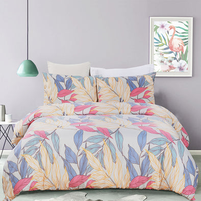 vaulia Colorful Floral Pattern Design Microfiber Duvet Cover Set BS309