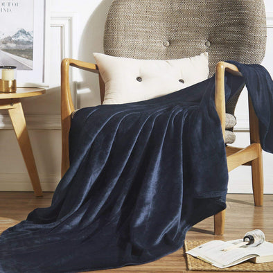 vaulia Microfiber Fleece Throws Blanket Navy Color TB02N