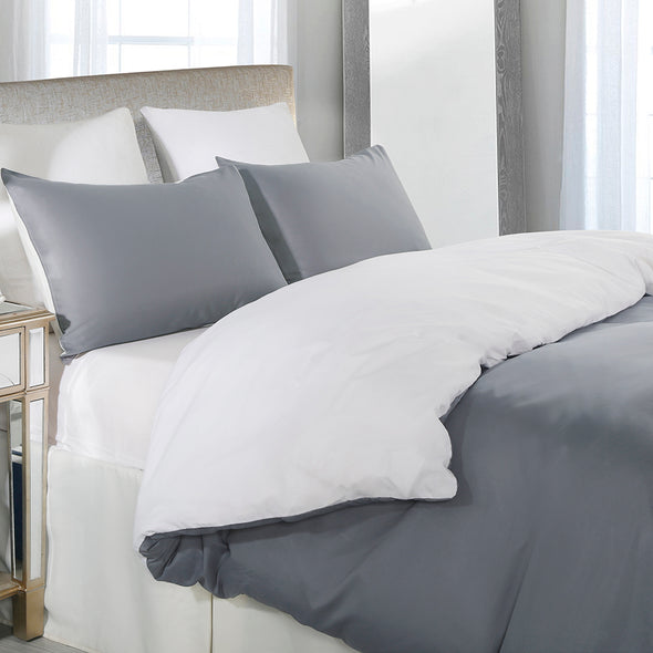 vaulia Microfiber Duvet Cover Set Grey and White BS110