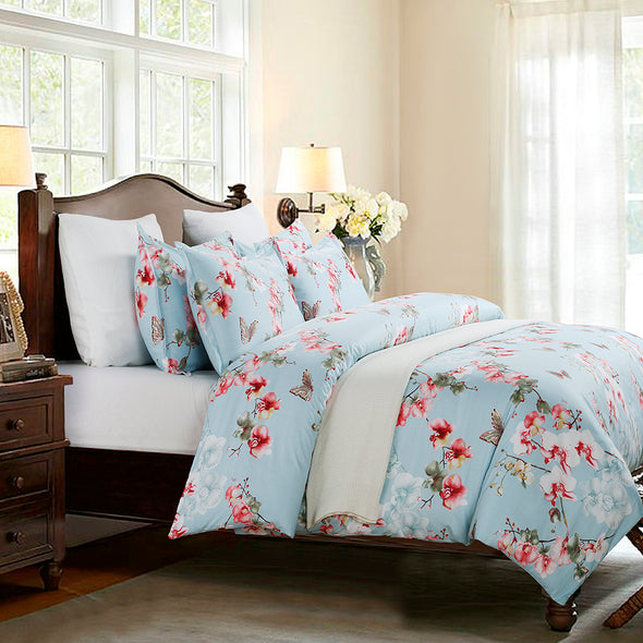 vaulia Colorful Floral Print Pattern Microfiber Duvet Cover Set BS212