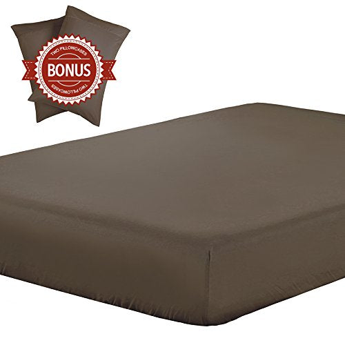 Lightweight Microfiber Fitted Sheet brown