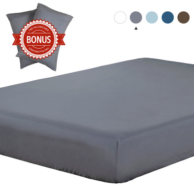 Lightweight Microfiber Fitted Sheet Grey