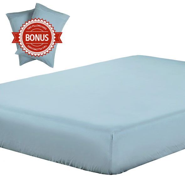 Lightweight Microfiber Fitted Sheet spa blue