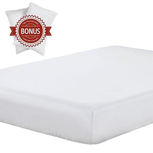 Lightweight Microfiber Fitted Sheet white