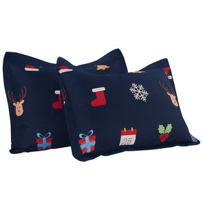Vaulia Lightweight Microfiber Print Pattern Pillow Shams, Christmas Decorations - Dark Blue, Set of 2