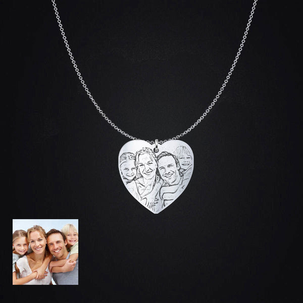Personalized Sterling Silver Heart Shaped Photo Pendant Necklace