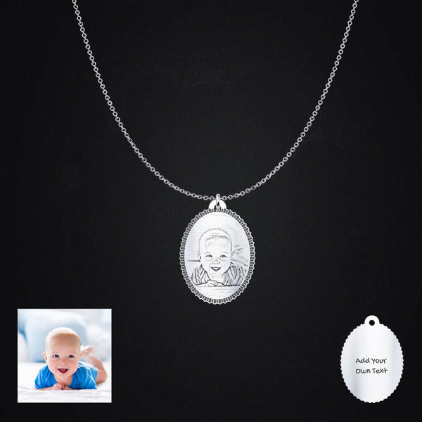 Sterling Silver Oval Personalized Photo Pendant Necklace Engraving